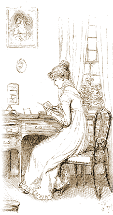Jane Austen at desk